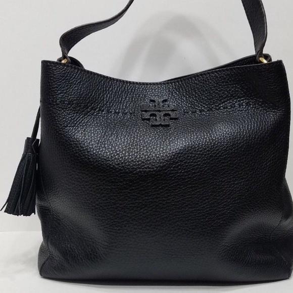 69385f0eb321 Tory Burch McGraw Hobo Black Leather with Tassel. M 5bdd25a85c4452ae7fcaca1a